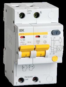 Дифференциальный автоматический выключатель АД12 2Р 16А 30мА IEK