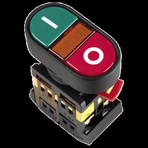 Кнопка APВВ-22N  Пуск-Стоп  d=22мм неон/240В 1з+1р IEK