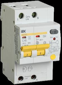 Дифференциальный автоматический выключатель АД12MS 2Р 40А 100мА IEK