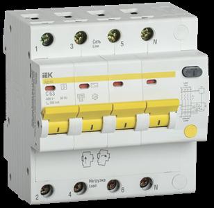 Дифференциальный автоматический выключатель АД14S 4Р 63А 300мА IEK