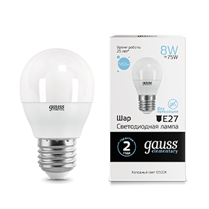 Лампа Gauss Elementary Шар 8W 560lm 6500K Е27 LED 1/10/100