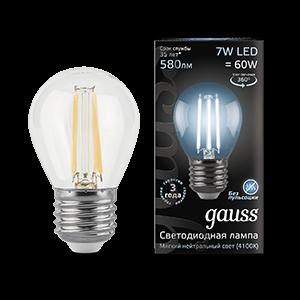 Лампа Gauss Filament Шар 7W 580lm 4100К Е27 LED 1/10/50