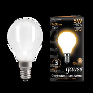 Лампа Gauss Filament Шар 5W 420lm 2700К Е14 milky LED 1/10/50