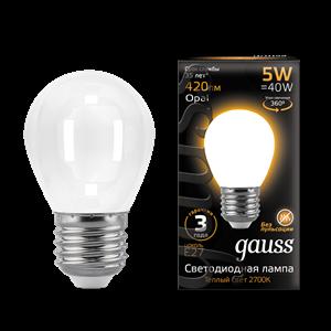 Лампа Gauss Filament Шар 5W 420lm 2700К Е27 milky LED 1/10/50