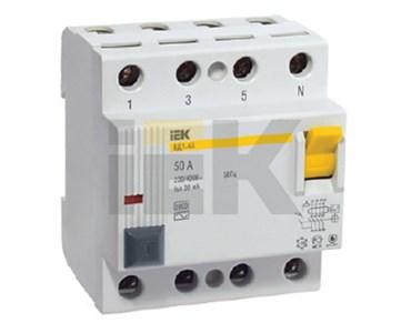 Выключатель дифференциальный (УЗО) ВД1-63 4Р 50А 30мА IEK
