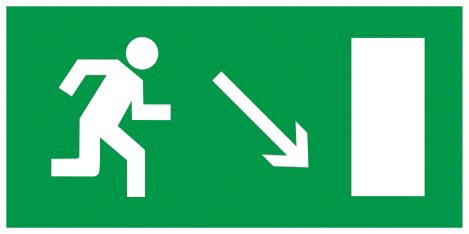 Самоклеящаяся этикетка 200х100мм  Направление к эвакуационному выходу направо вниз  IEK